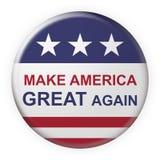 Haga América el gran otra vez botón del lema con la bandera de los E.E.U.U., ejemplo 3d en el fondo blanco ilustración del vector