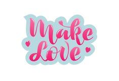 Haga amor la frase manuscrita con poner letras de los corazones libre illustration