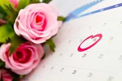 Haga calendarios 14to el día de tarjeta del día de San Valentín Foto de archivo