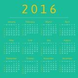 Haga calendarios 2016 años, comienzo de la semana con domingo Fotografía de archivo