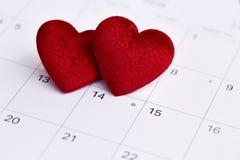 Haga calendarios al día de tarjetas del día de San Valentín Imagen de archivo libre de regalías