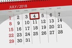 Haga calendarios al planificador para el mes, día de la semana, miércoles, 2018 el 4 de julio, Día de la Independencia del plazo Imagen de archivo