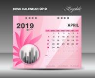 Haga calendarios 2019, APRIL Month, diseño del vector de la plantilla del calendario de escritorio, concepto rosado de la flor ilustración del vector