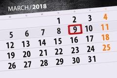 Haga calendarios el año de la página la fecha 9 de marzo de 2018 meses Fotografía de archivo libre de regalías