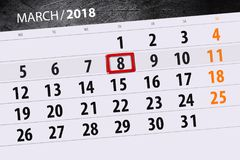 Haga calendarios el año de la página la fecha 8 de marzo de 2018 meses Imágenes de archivo libres de regalías