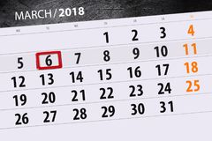 Haga calendarios el año de la página la fecha 6 de marzo de 2018 meses Imagen de archivo