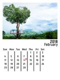 Haga calendarios febrero de 2018 con el árbol de la forma del corazón de Phitsanulok Tailandia Fotos de archivo