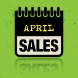 Haga calendarios la etiqueta con las palabras April Sales escrita dentro Fotos de archivo