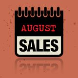 Haga calendarios la etiqueta con las palabras August Sales escrito dentro Fotos de archivo libres de regalías