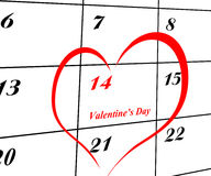 Haga calendarios la paginación con un detalle de la tarjeta del día de San Valentín Imágenes de archivo libres de regalías
