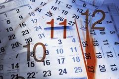 Haga calendarios las paginaciones y el reloj Imágenes de archivo libres de regalías