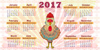 Haga calendarios por el año 2017 El símbolo del gallo rojo Imágenes de archivo libres de regalías