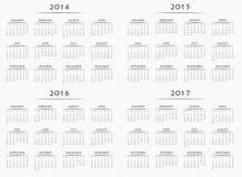 Haga calendarios por los años 2014-2017 Imagenes de archivo