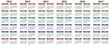 Haga calendarios por los años 2012 - 2017 Foto de archivo libre de regalías