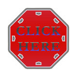 Haga clic aquí abotona Fotografía de archivo libre de regalías