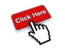 Haga clic aquí con la mano del cursor Fotografía de archivo