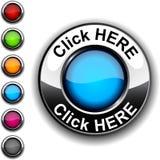 Haga clic aquí el botón. Fotografía de archivo libre de regalías