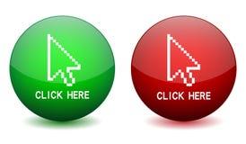 Haga clic aquí el botón ilustración del vector