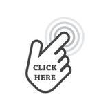 Haga clic aquí el icono Muestras del cursor de la mano ilustración del vector