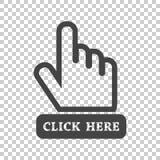 Haga clic aquí el icono Muestras del cursor de la mano Enfermedad plana del vector del botón negro stock de ilustración