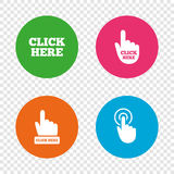 Haga clic aquí firma Iconos de la prensa de la mano stock de ilustración