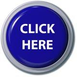 HAGA CLIC AQUÍ la sombra azul de la gota del botón Foto de archivo libre de regalías