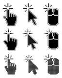 Haga clic aquí los cursores del ratón fijados Foto de archivo libre de regalías