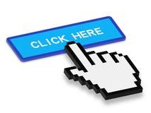 Haga clic aquí con la mano del cursor Imágenes de archivo libres de regalías