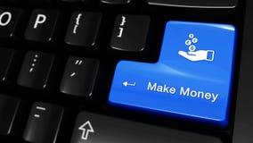 401 Haga dinero el movimiento móvil en el botón del teclado de ordenador almacen de video