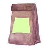Haga el bolso de papel del almuerzo a mano con una nota de post-it en blanco Foto de archivo