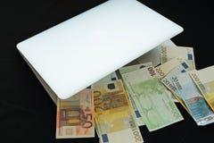 Haga el dinero en línea en bolso Imagen de archivo
