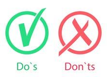 Haga el icono de s y de los ts de Don Sí y No Aceptado y no aceptado Aprobado y rechazado Ilustración del vector libre illustration