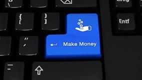 402 Haga el movimiento de la rotación del dinero en el botón del teclado de ordenador metrajes
