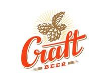 Haga el salto del ejemplo a mano del vector de la insignia de la cerveza, diseño del emblema stock de ilustración