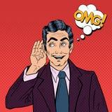 Haga estallar a Art Business Man Listening y lleve a cabo su mano cerca del oído Fotos de archivo libres de regalías
