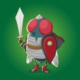 Haga frente a al guerrero de la mosca con vector del ejemplo de la espada y de la armadura Fotos de archivo