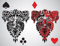 Haga frente al juego de la tarjeta del rey stock de ilustración