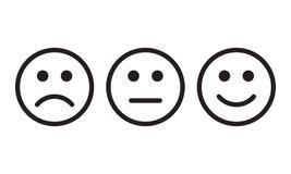 Haga frente al positivo del icono de la sonrisa, muestras neutrales negativas del vector de la opinión stock de ilustración