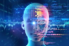 Haga frente a la detección y al reconocimiento del ejemplo digital del ser humano 3d libre illustration