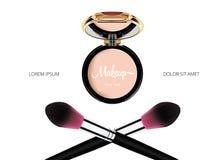Haga frente a la plantilla cosmética del maquillaje del polvo con el brash del espejo y del polvo en el fondo blanco Vector Imagen de archivo