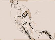 Haga frente a los contornos de la chica joven hermosa en un fondo beige Imagenes de archivo