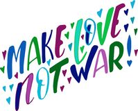 Haga guerra del amor no el ejemplo colorido Inscripción para el día de Valentine's stock de ilustración