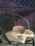 Haga heno el sombrero y el ribbin hermoso en silla de jardín en jardín de flores Fotografía de archivo