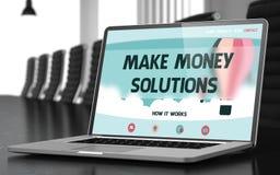 Haga las soluciones del dinero en el ordenador portátil en sala de conferencias 3d Fotos de archivo