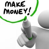 Haga que el dinero sirve las palabras de la escritura que enseñan a éxito para conseguir rico Fotos de archivo libres de regalías