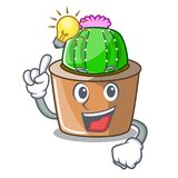 Haga que un cactus de la estrella de la mascota de la idea adorne en el jardín ilustración del vector