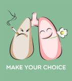Haga su cartel bien escogido El fumar y pulmones sanos Peligro del humo Caracteres positivos y negativos Ilustración del vector Fotos de archivo