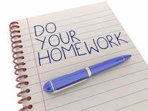 Haga su pluma de la libreta del trabajo de la asignación de escuela de la preparación ilustración del vector