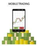 Haga tabletas el smartphone con la carta y el paquete comunes de dinero Foto de archivo libre de regalías
