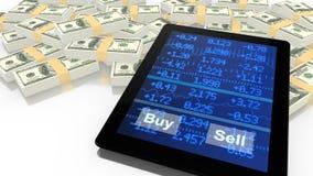 Haga tabletas inclinarse en USD con una cinta de cotizaciones bursátiles azul Foto de archivo